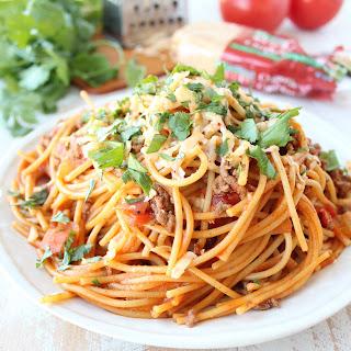 One Pot Buffalo Taco Spaghetti