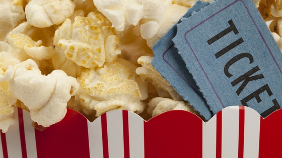 popcorn and a movie ticket
