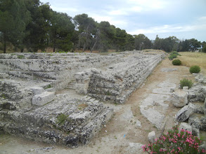 Photo: Within the archaeological park in Siracusa, we visited one more site, which is the ruins of the Altar of Heron. The altar was used for sacrifices to the gods. Only the base of the altar remains, but it gives you a good idea of the immense size of the site.