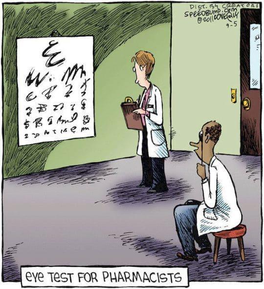 """esta ilustração mostra um farmacêutico no oculista fazendo um teste de visão. Mas as letras do texto remetem às letras incompreensíveis dos médicos. Abaixo aparece a frase """"teste ocular para farmacêuticos"""""""