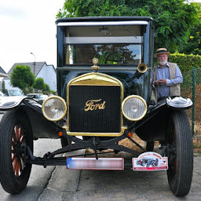 the old man with his automobile by Paul Wante - Transportation Automobiles ( oldtimer, old, ford, photography, transportation )
