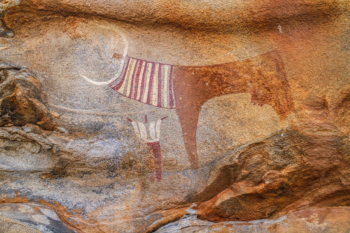 A pictograph on the wall of a rock art site in Somalia