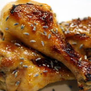 Lavender-Apricot Chicken Drumsticks.