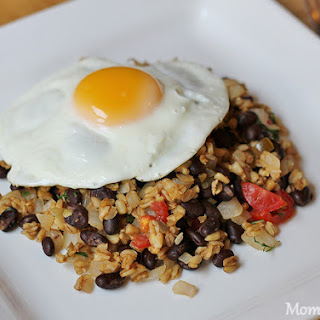 Egg over Spicy Wheat Berries and Black Beans