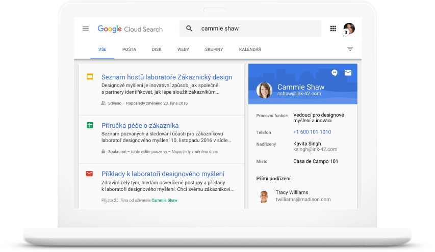 Vyhledávání ve službách GoogleWorkspace