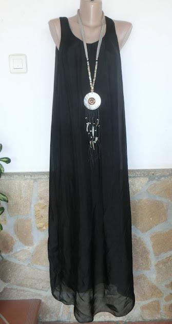 Italy Maxi-Kleid Lagenlook 100 Seide Rosa Chic Schlicht Leicht Apart 38-44