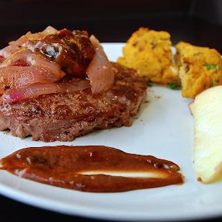 Buffalo Burgers with Caramelized Onions & Balsamic Fig-Aioli.