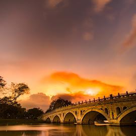 Watercolor Romantic Sunset by CK Chong - Landscapes Sunsets & Sunrises ( photo taken @ jurong lake park, singapore,  )