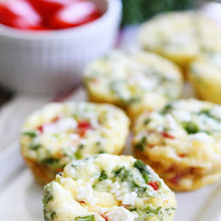 Egg Muffins with Kale, Roasted Red Peppers, and Feta Cheese