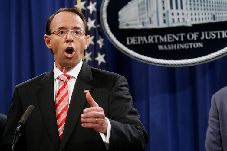 Deputy US Attorney General Rod Rosenstein announces grand jury indictments of 12 Russian intelligence officers in special counsel Robert Mueller's Russia investigation during a news conference at the Justice Department in Washington, US, July 13, 2018.