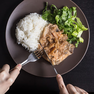 Pressure Cooker Pork Chops with Applesauce.