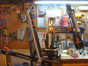 Photo: The seat tube is mitered for the bottom bracket, I've got the fixture set up and now I'm ready to miter the other main tubes.