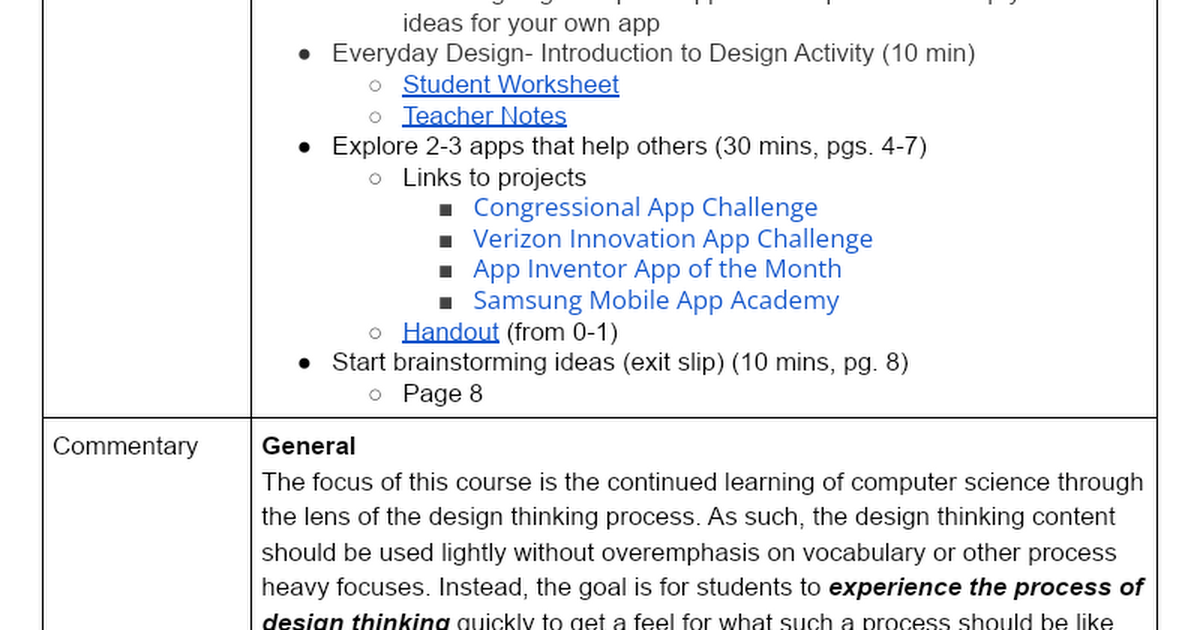 Design Project Teacher Guide V1 Outcomes Lesson Steps And