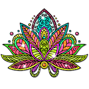 Mandala Glitter Color by Number - Paint by Numbers