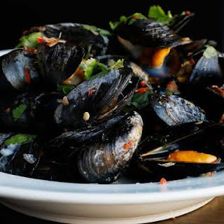 Mussels with Coconut Sweet Chili Broth.