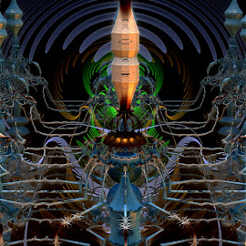 Turnstile Assailant by Rick Eskridge - Illustration Sci Fi & Fantasy ( fantasy, jwildfire, mb3d, fractal, twisted brush )