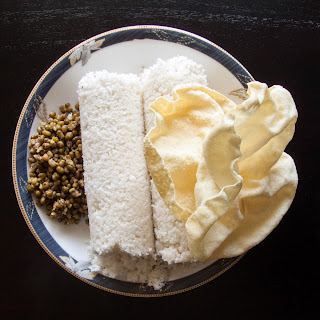 Kerala Rice Puttu Recipe with Payar and Pappadam Recipe – Steamed Rice Flour Cake with Coconut.