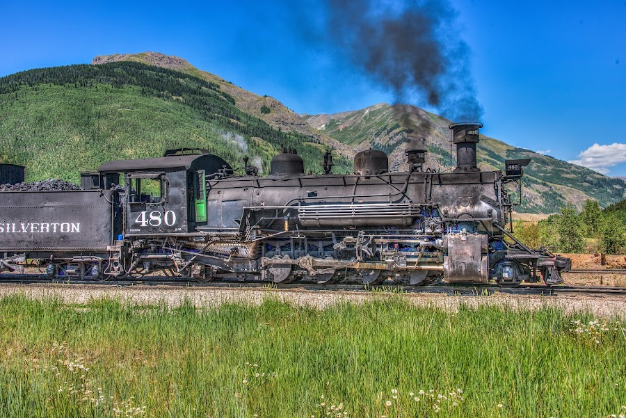 Silverton-Durango by Scott Fishman - Transportation Trains ( mountain lakes, ava, flint hills, gorge, waterfall, winston, log fence, colorado, wild  flowers, timber fence, gunnison national park, mountains, nature, great sand dunes national park, wooden fence, train, aspens, silverton, deer )