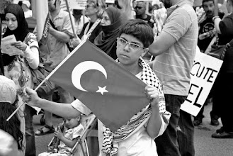 Photo: The Turkish flag was seen everywhere during the demonstration.