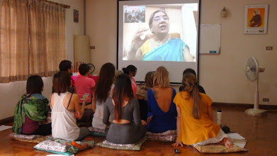 Photo: Students talking with Hansaji in India in a Skyoe conversation