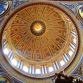 Dome of St Peters by Leigh Thomson - Buildings & Architecture Places of Worship ( church, art, murals, dome, holy, tourism, travel, vatican, architecture, basilica, city, st peters, frescoes, rome, buildings, cathedral, gold, painting )