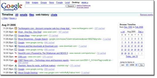 Google Desktop browse history
