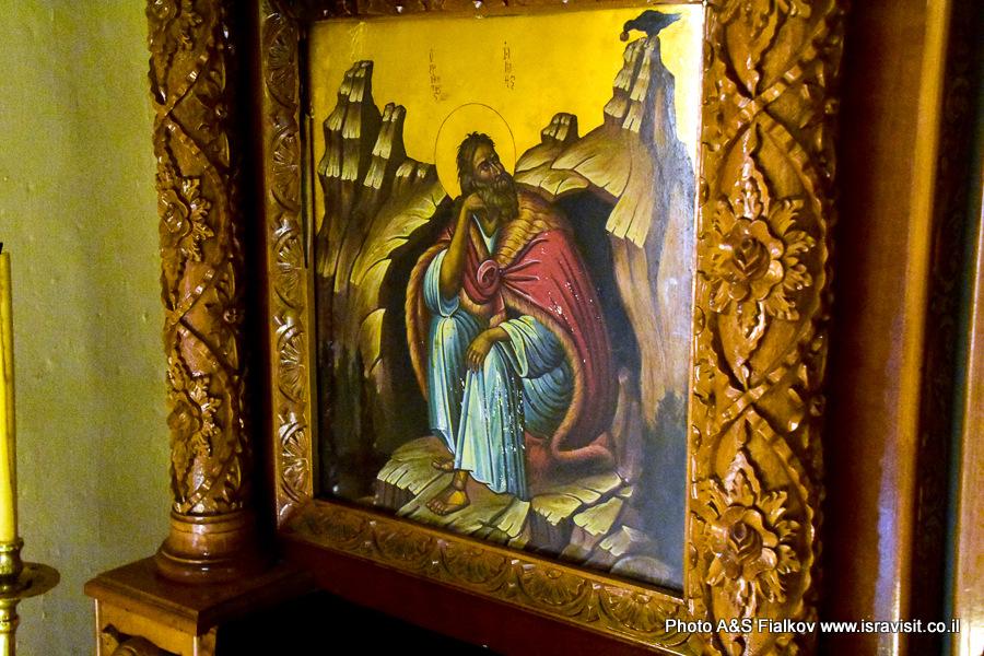 Икона – ворон кормит Илью Пророка.  Монастырь Георгия Хозевита в Иудейской пустыне. Вади Кельт, Израиль.