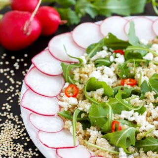 Cold Quinoa Salad with Feta Cheese & Rucola Leaves.