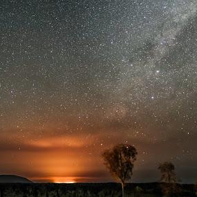Uluru Firestorm by Night by Brent McKee - Landscapes Starscapes ( 2017, nt, fire storm, australia, ayers rock, bush fire, uluru, northern territory, fire )