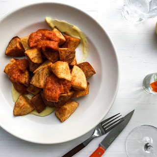 Fried Potatoes with Tomato-Chipotle Sauce and Aioli.