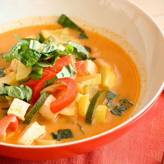 Lighter Summer Squash Red Curry with Basil.