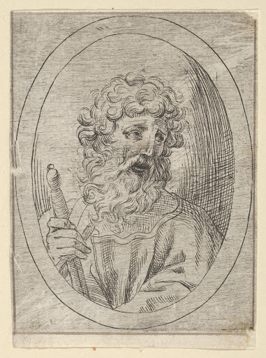 Saint Paul holding a sword, in an oval frame, from Christ, the Virgin, and Thirteen Apostles