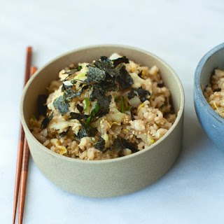 Stir-Fried Brown Rice and Cabbage with Toasted Nori.