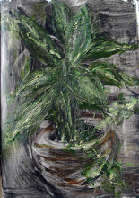 """Photo: 'The House Plant, 2', 2nd draft, 21cm x  29cm, 8"""" x 11.5"""", 2012, Moleskine folio Sketchbook, oils.   A meditation in ink on the plant, which withdraws its essence into its own mystery even as it offers its vibrancy. Today I used an acrylic base and oil paints.   I ended up scraping much of the lighter green off, and, unfortunately, the photo of this stage is a bit blurred."""