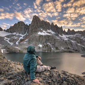 Self Portrait Enjoying the Minarets by Cliff LaPlant - Landscapes Mountains & Hills ( opens spaces, reflection, cecile lake, mountain, america, national parks, reflections, cecile, landscape, usa, sun, photography, mountains, nature, range of light, sierralara, ansel, nikon, evening, light, fire in the sky, clouds, water, wild, sierra nevada, park, california, open space, ansel adams wilderness, united states, fire, cloud burst, united states of america, national park, wilderness, environment, color, sierras, sunset, outdoors, sierra, sunrise, ansel adams, minarets, outside,  )