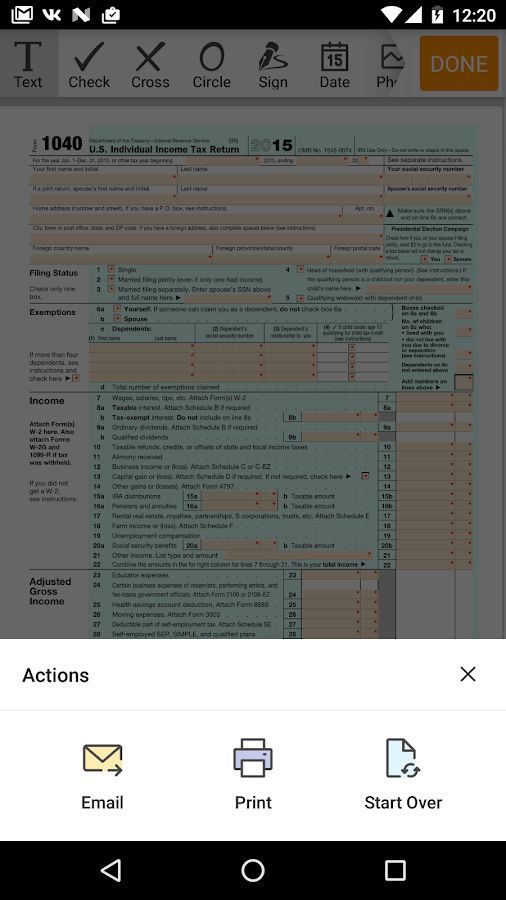 IRS 1040 form- screenshot