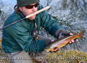 Photo: Brian Flechsig trying out his new Tenkara on the Mad....the method is really great for this river.