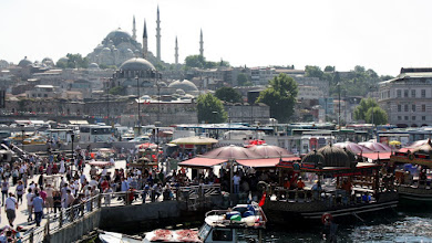 Photo: Day 104 - The Hustle and Bustle on the Quayside and the Suleymaniye Mosque  in the Background