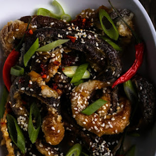 Mock Eel with a Sticky and Sweet Ginger Sauce.