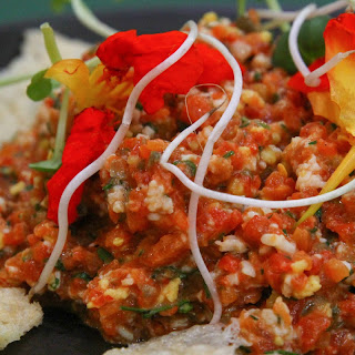 Roasted Bell Pepper Tartare with Crispy Cheese Points