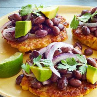 Corn Fritters with Black Bean Salad