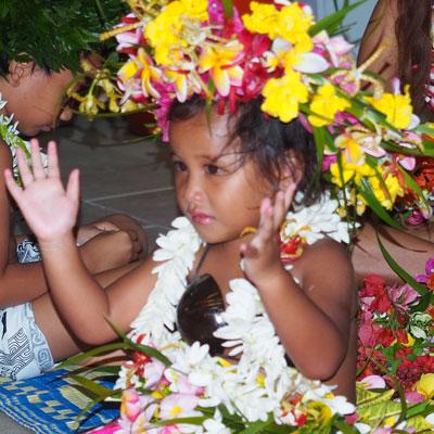 Tahitian girl with hair garland
