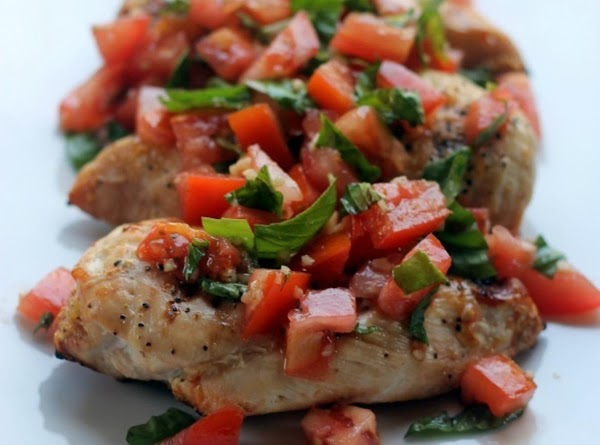 Please see http://domesticsuperhero.com/2013/10/19/skinny-bruschetta-chicken/ for full list of ingredients and directions!