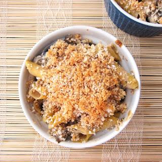 Vegan Mushroom Pasta Bake with White Wine Cream Sauce.