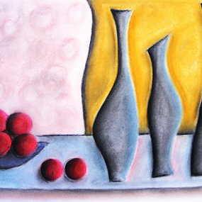 Fruit and Water III by Jennifer van Niekerk - Drawing All Drawing ( water, bowl, pastel, sketch, ochre, fruit, cobalt, bright, still life, art, fruit bowl, yellow, table, bottle, modest, drawing, decor, red, blue, grey, soft pastel, cheerful, design, hydrate )