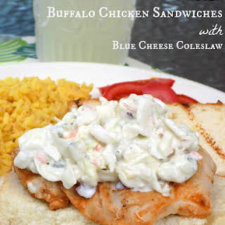 Grilled Buffalo Chicken Sandwiches with Blue Cheese Coleslaw.