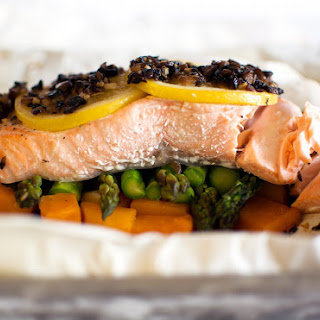 Parchment Baked Salmon with Squash and Asparagus.
