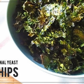 Oven-Baked Kale Chips with Garlic, Nutritional Yeast & Coconut Oil.
