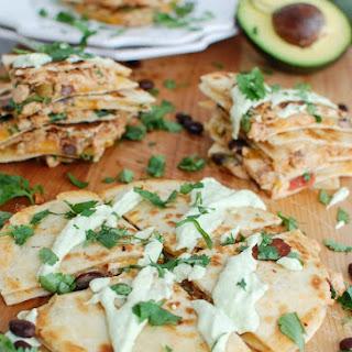 Mexican Salmon Quesadillas with Avocado Cream Sauce.