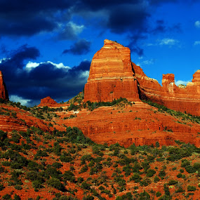 Ship Rock by Brian Kerls - Landscapes Travel ( stormy, mountain, cliffs, america, rock, travel, landscape, breathtaking, storm, usa, hiking, geology, ship rock, mountains, sky, nature, iconic, spiritual, sedona arizona, arizona, dramatic, southwest, mountain peak, red rock, weather, rock formation, sedona, light, clouds, ship rock sedona, desert, tourism, beauty in nature, scenic, storm clouds, destination, landmark, motivational, outdoors, western, natural, inspirational )